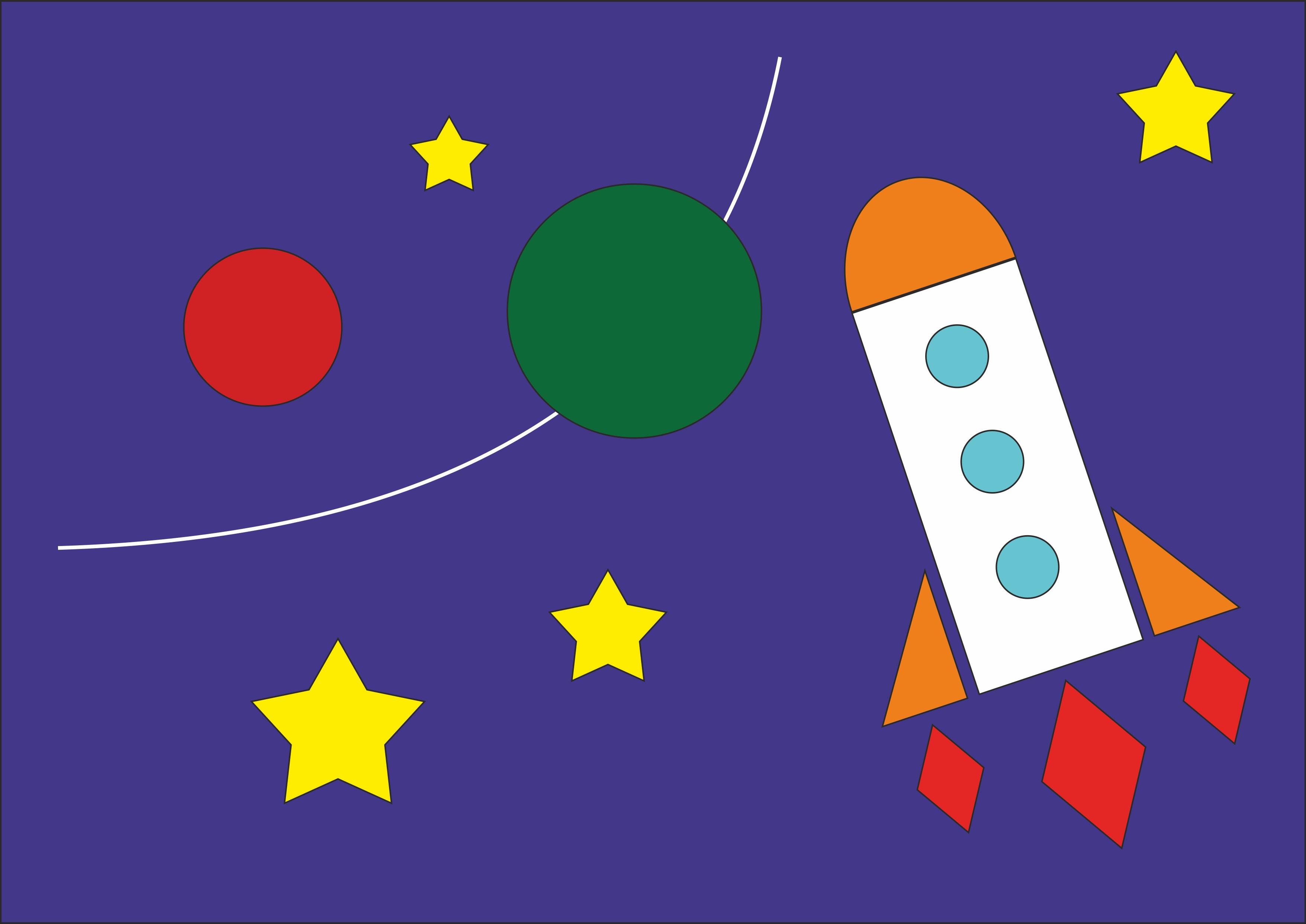 """Рисунок из геометрических фигур""""Космический полет"""""""
