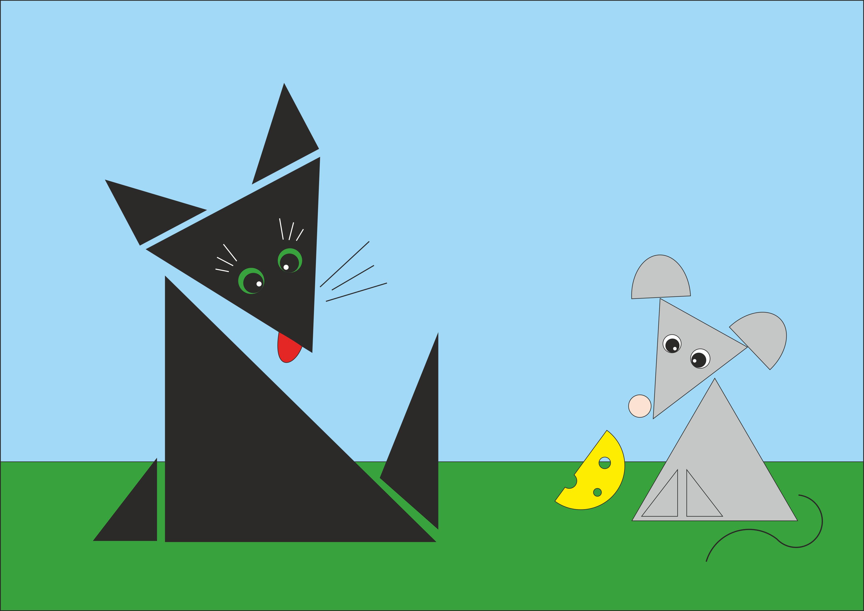 "Рисунок из геометрических фигур""Кошка и мышка"""