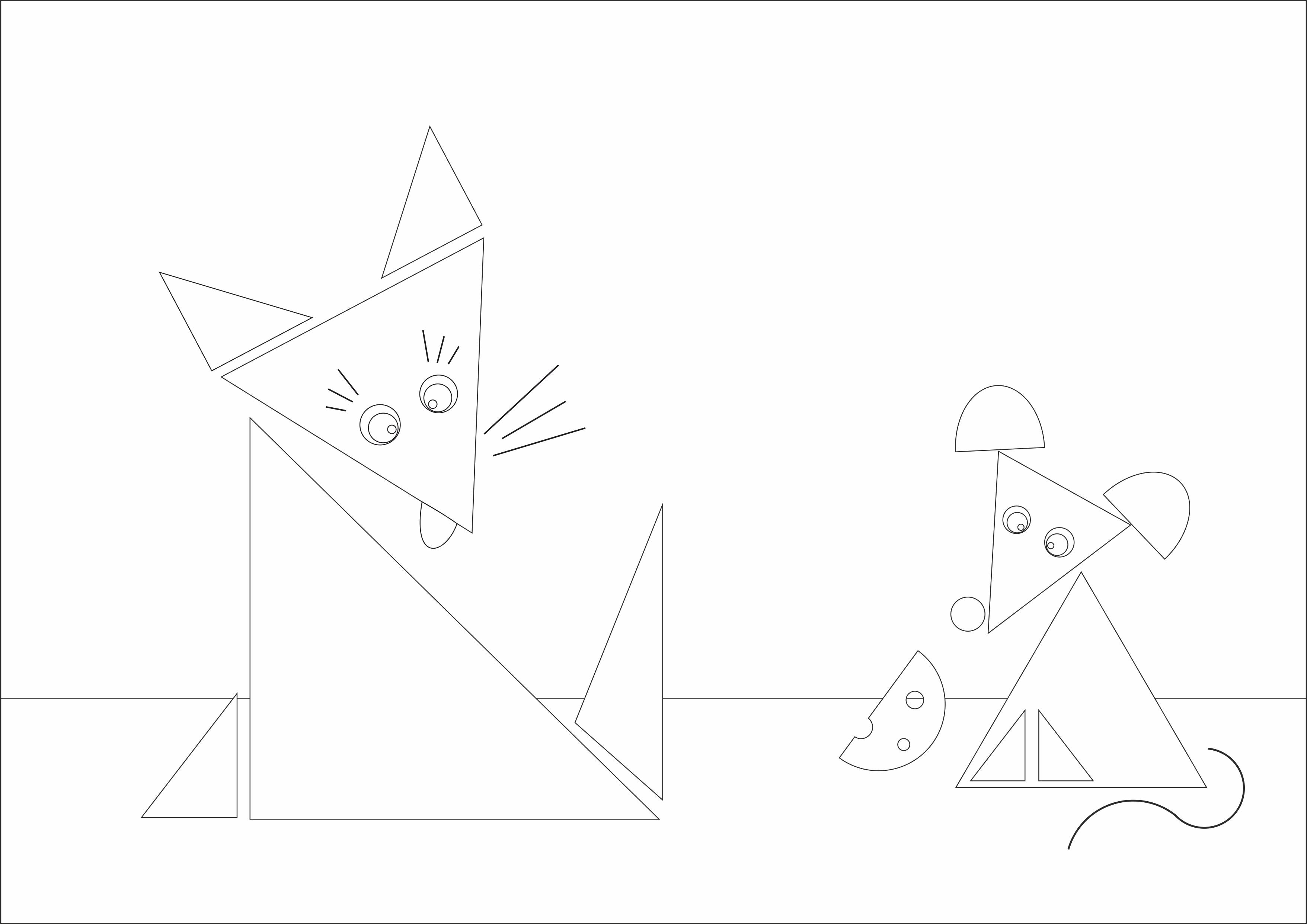 "Раскраска из геометрических фигур""Кошка и мышка"""