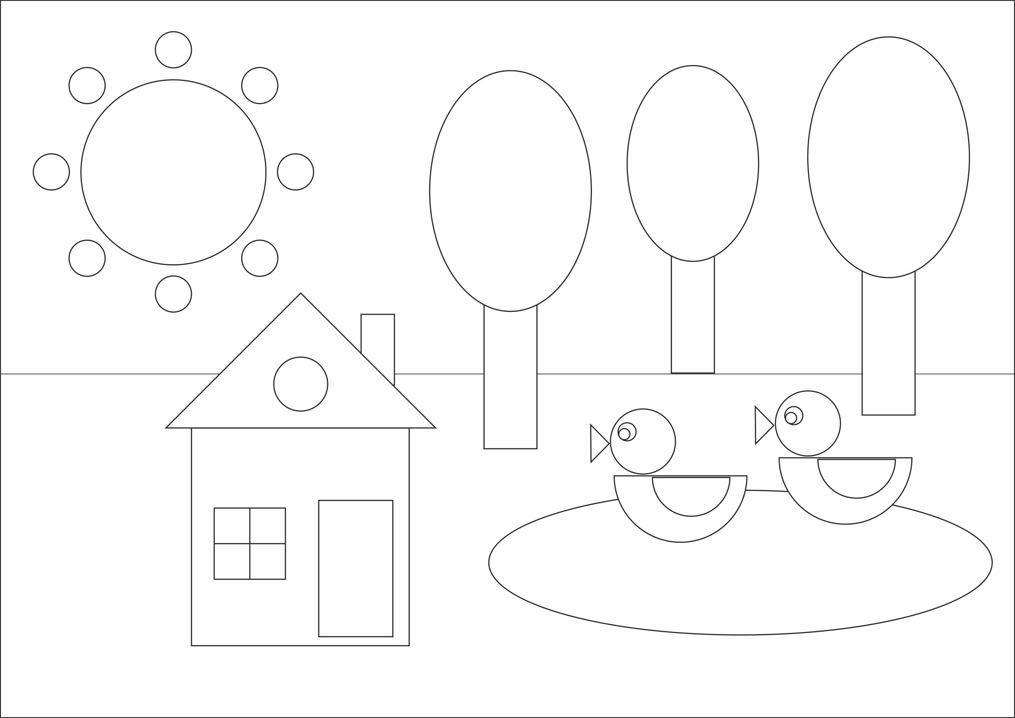 """Раскраска из геометрических фигур""""Домик в деревне"""""""