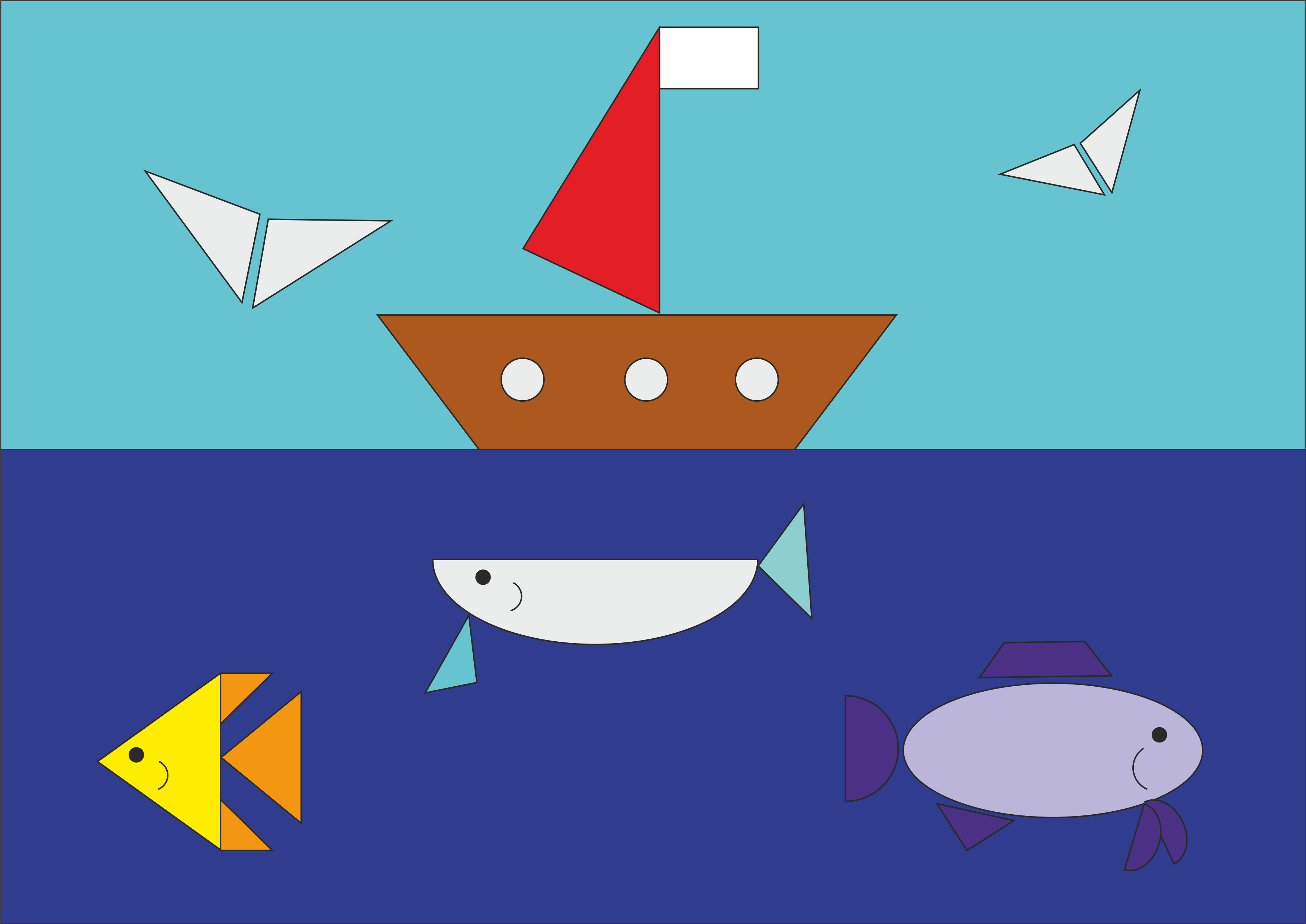 "Рисунок из геометрических фигур""Море и корабль"""