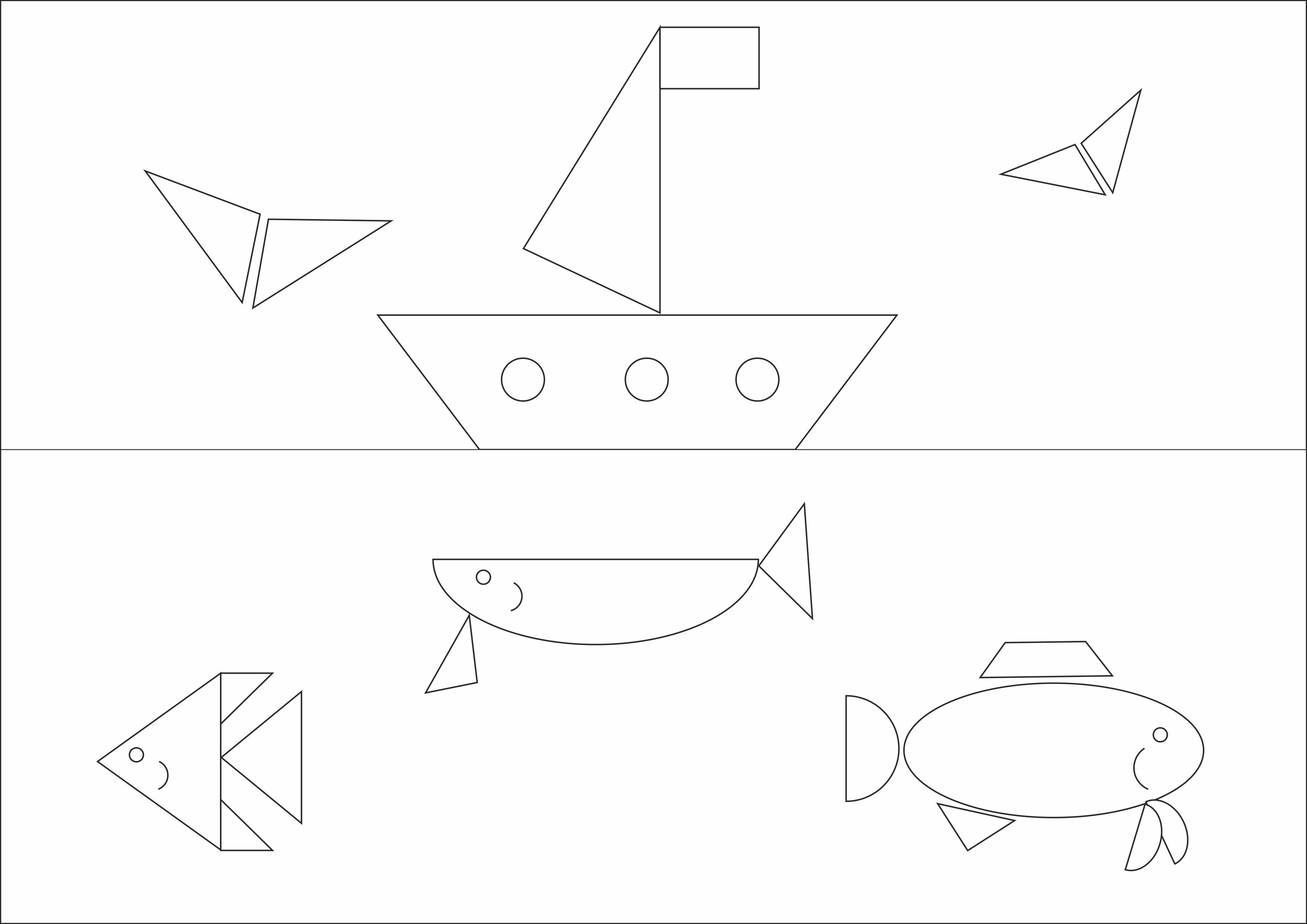 """Раскраска из геометрических фигур""""Море и корабль"""""""
