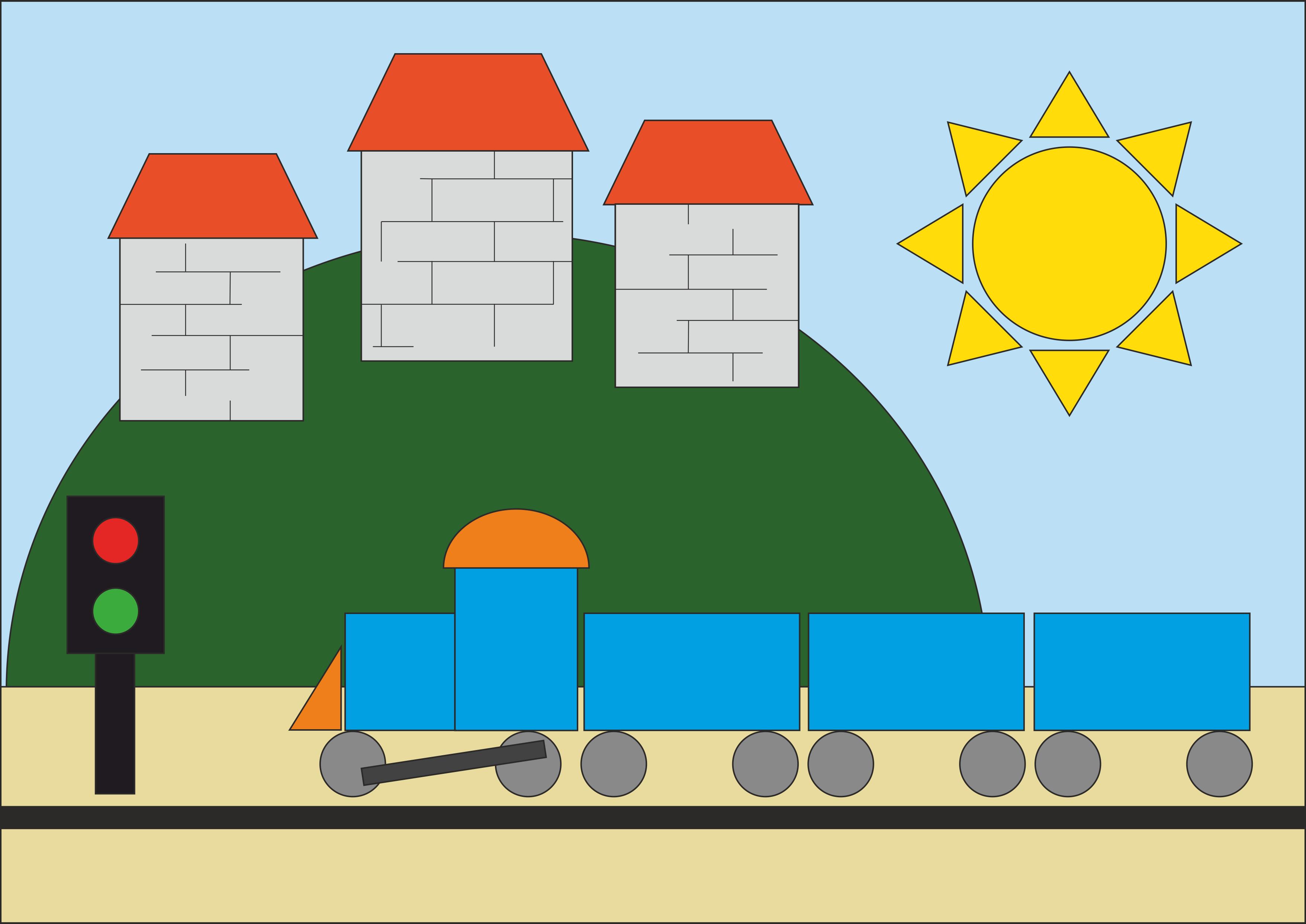 """Рисунок из геометрических фигур""""Железная дорога"""""""