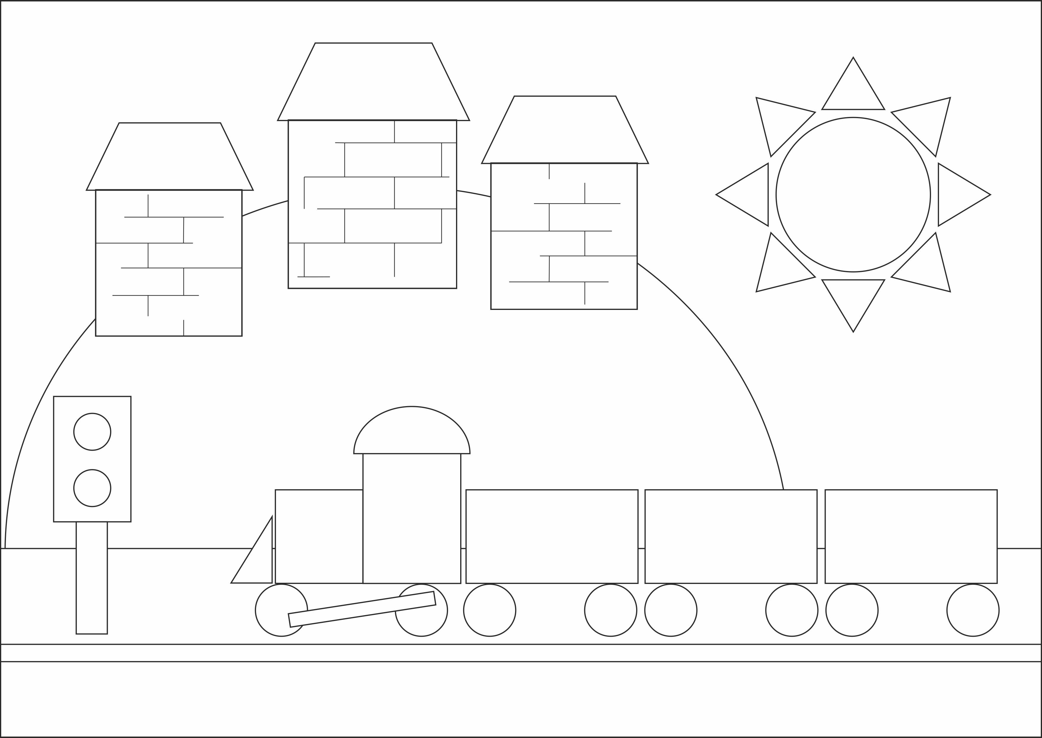 """Раскраска из геометрических фигур""""Железная дорога"""""""