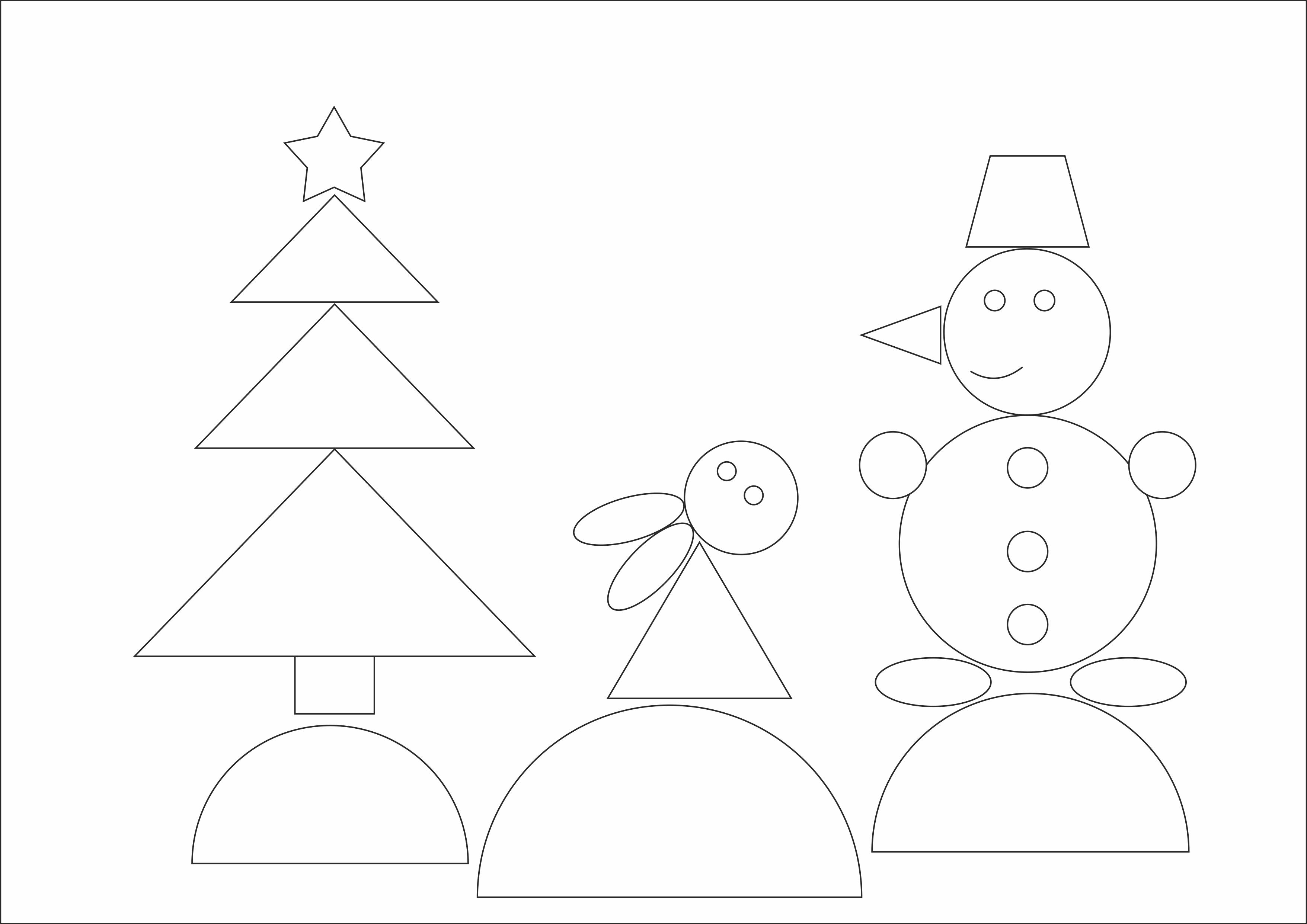 """Раскраска из геометрических фигур""""Лесная новогодняя сказка"""""""