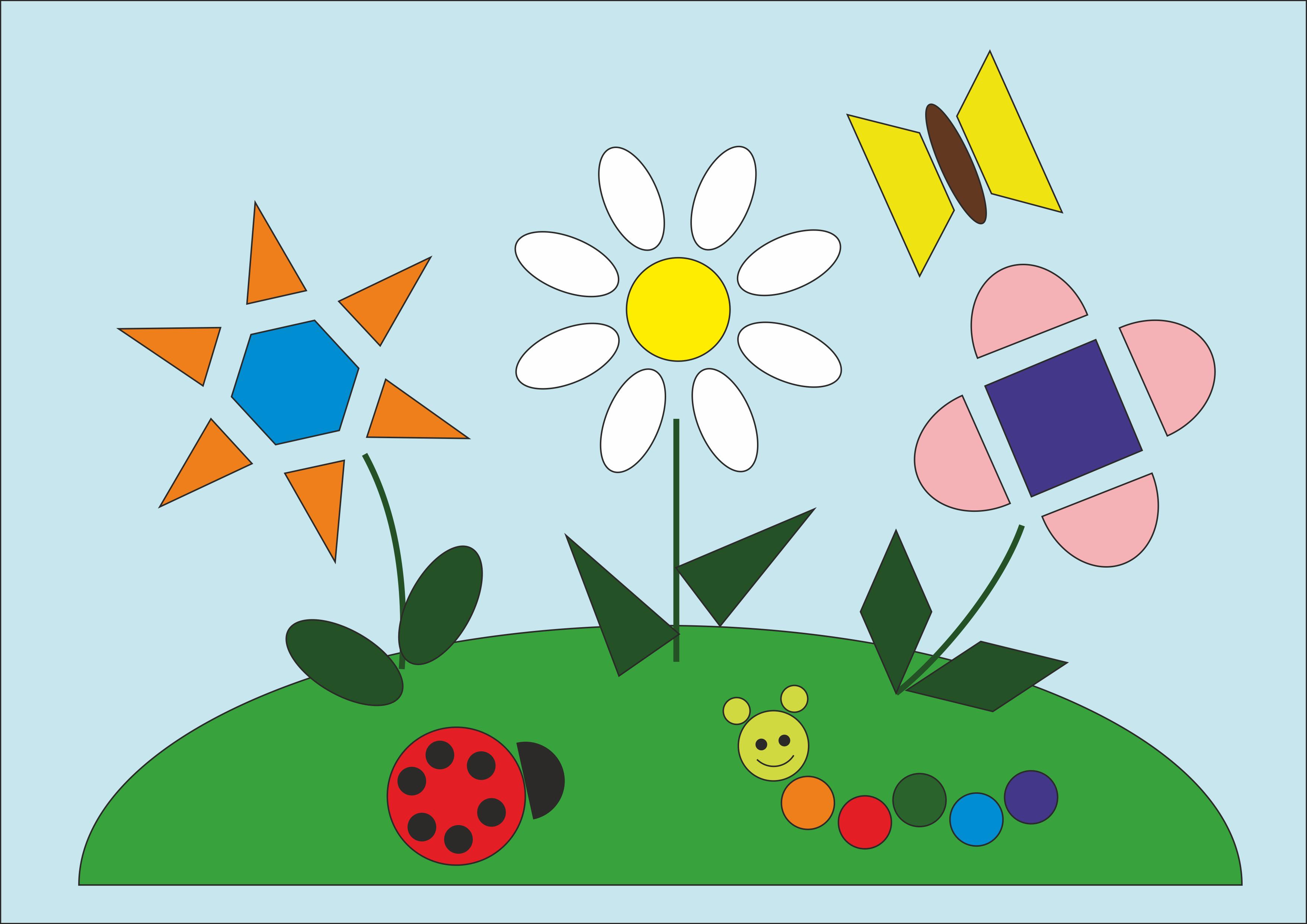 """Рисунок из геометрических фигур""""Летняя поляна"""""""