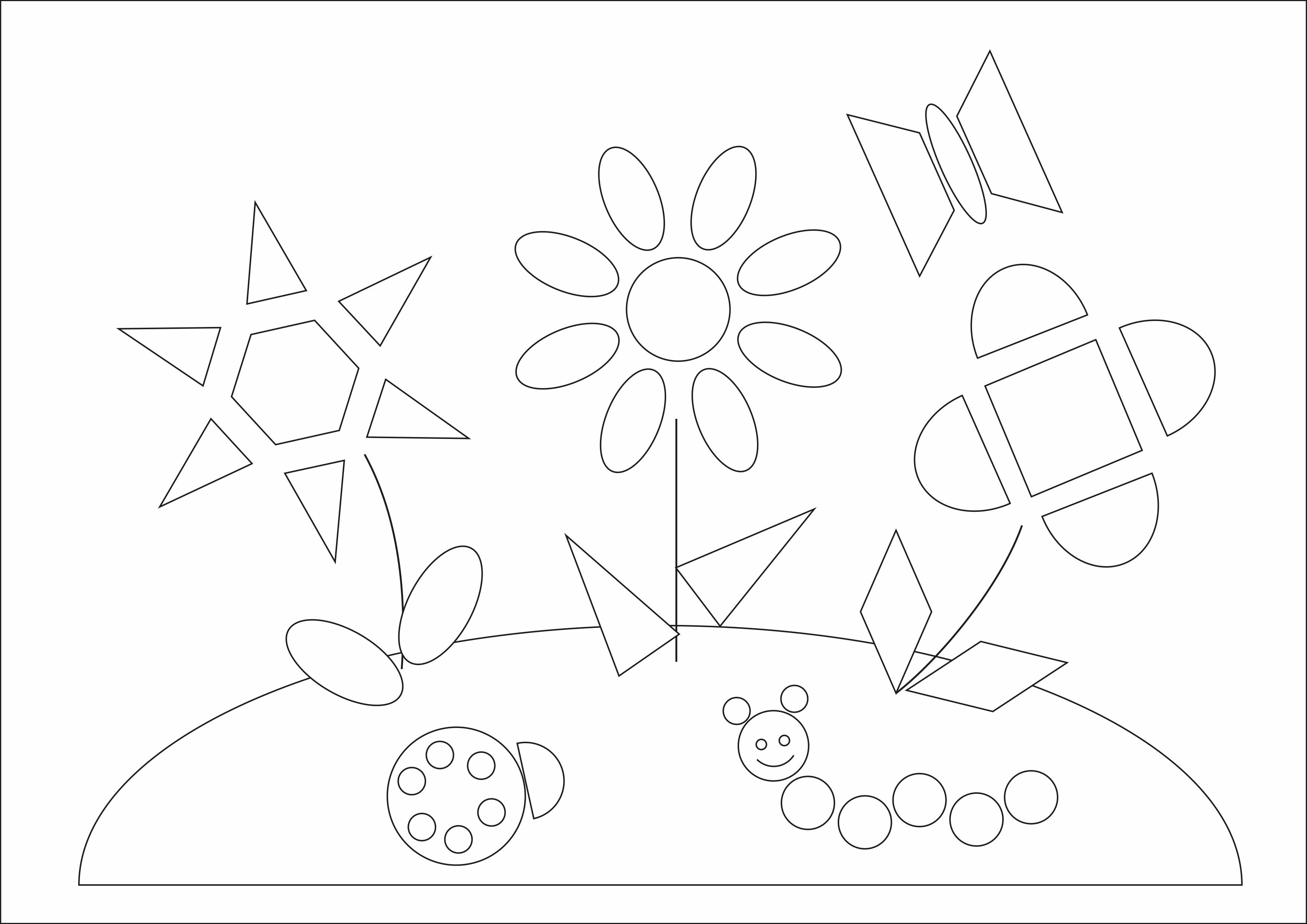 """Раскраска из геометрических фигур""""Летняя поляна"""""""