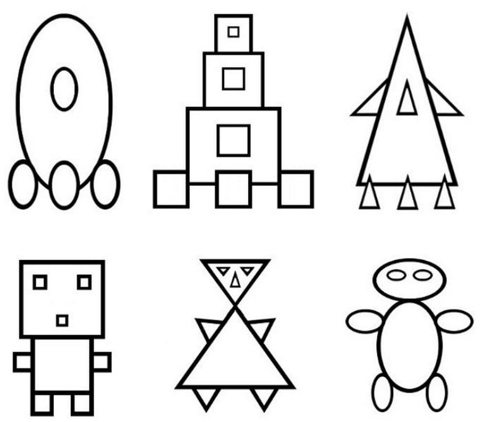 Ракета из овалов, башня из квадратов, ракета из треугольников, человечек из квадратов, человечек из треугольников, человечек из овалов