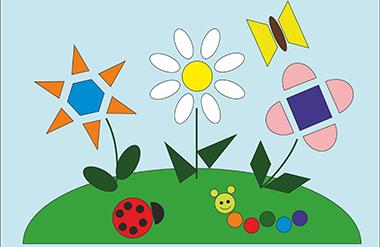 Рисунок из геометрических фигур для детей: 1 класс, 2 класс (круг, овал, квадрат, треугольник и многоугольник)