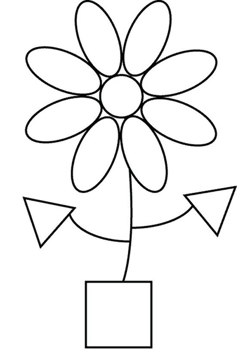 """Раскраска из геометрических фигур """"Цветок"""""""