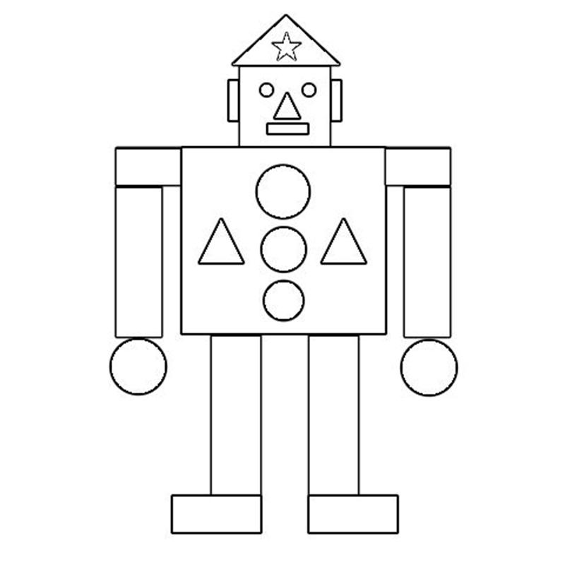 "Раскраска из геометрических фигур ""Робот-солдат"""