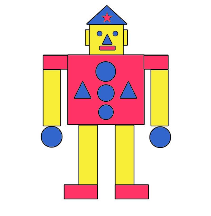 """Рисунок из геометрических фигур """"Робот-солдат"""""""
