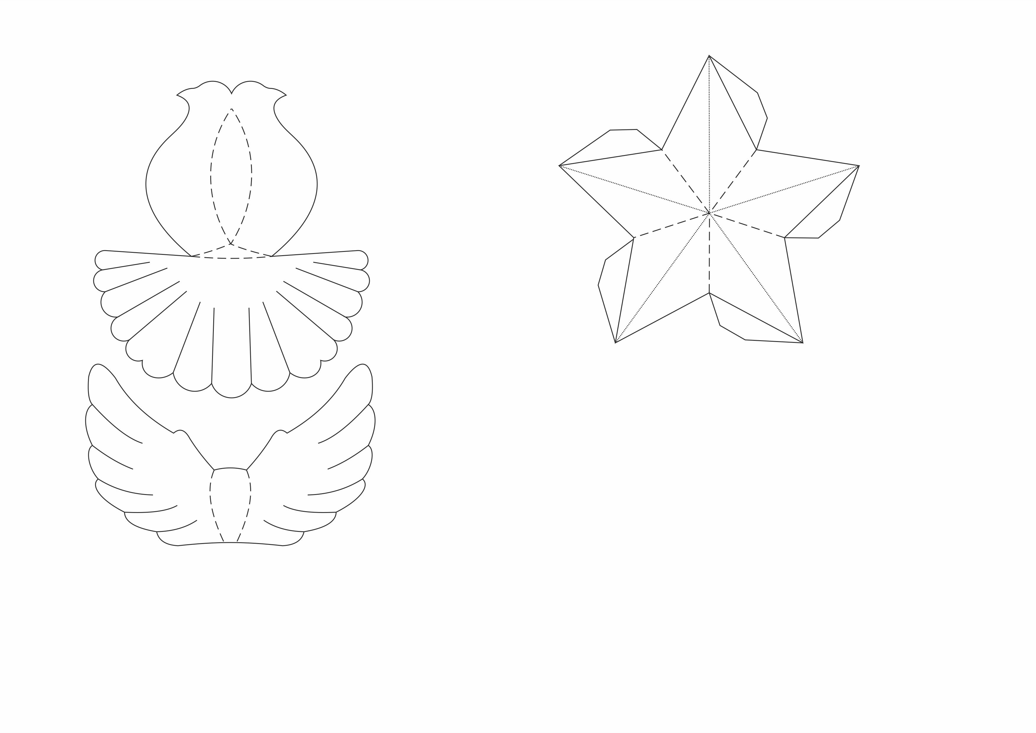 Шаблоны для вырезания(голубь и звезда)