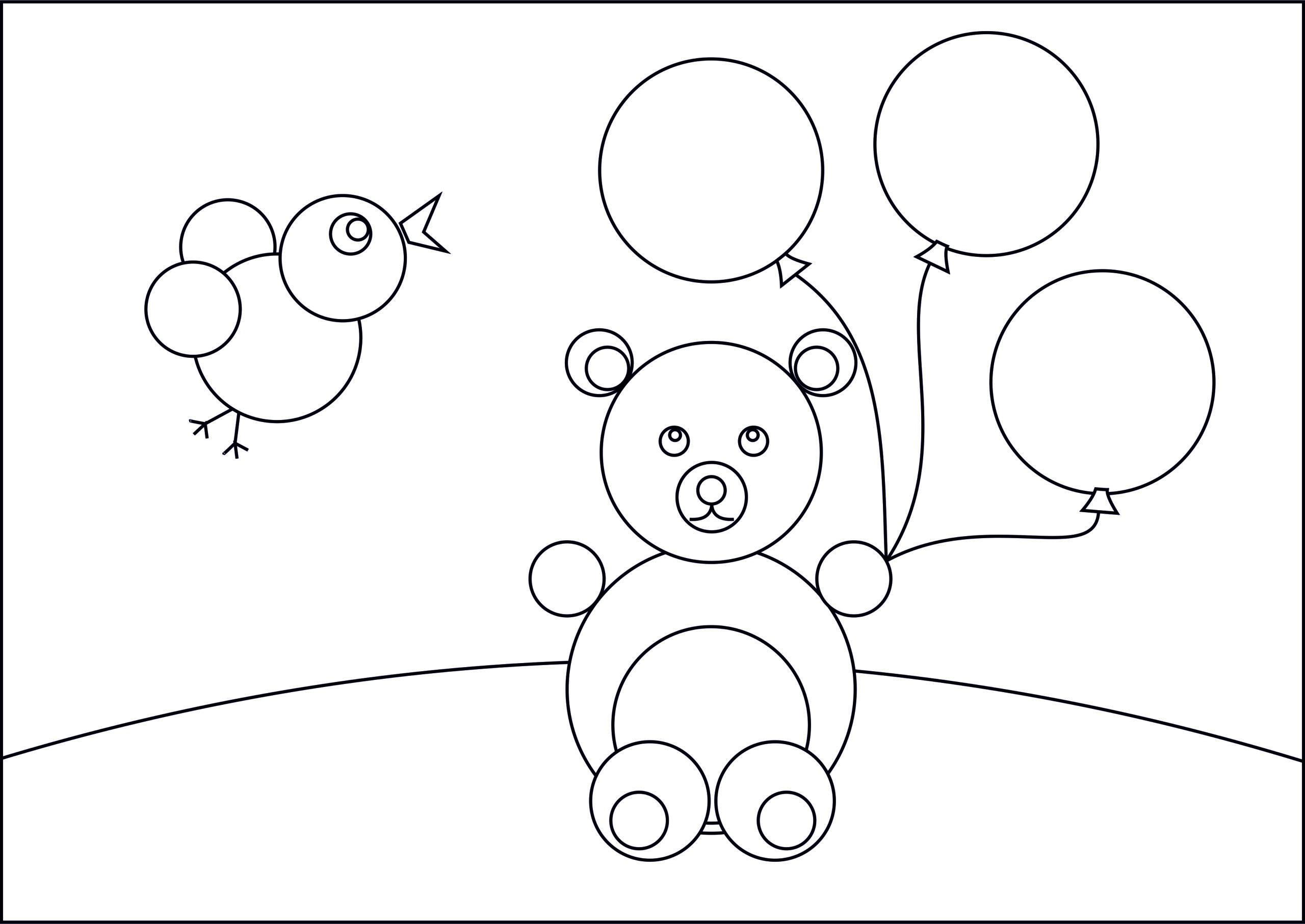 """Раскраска из кругов """"Мишка с шариками"""""""