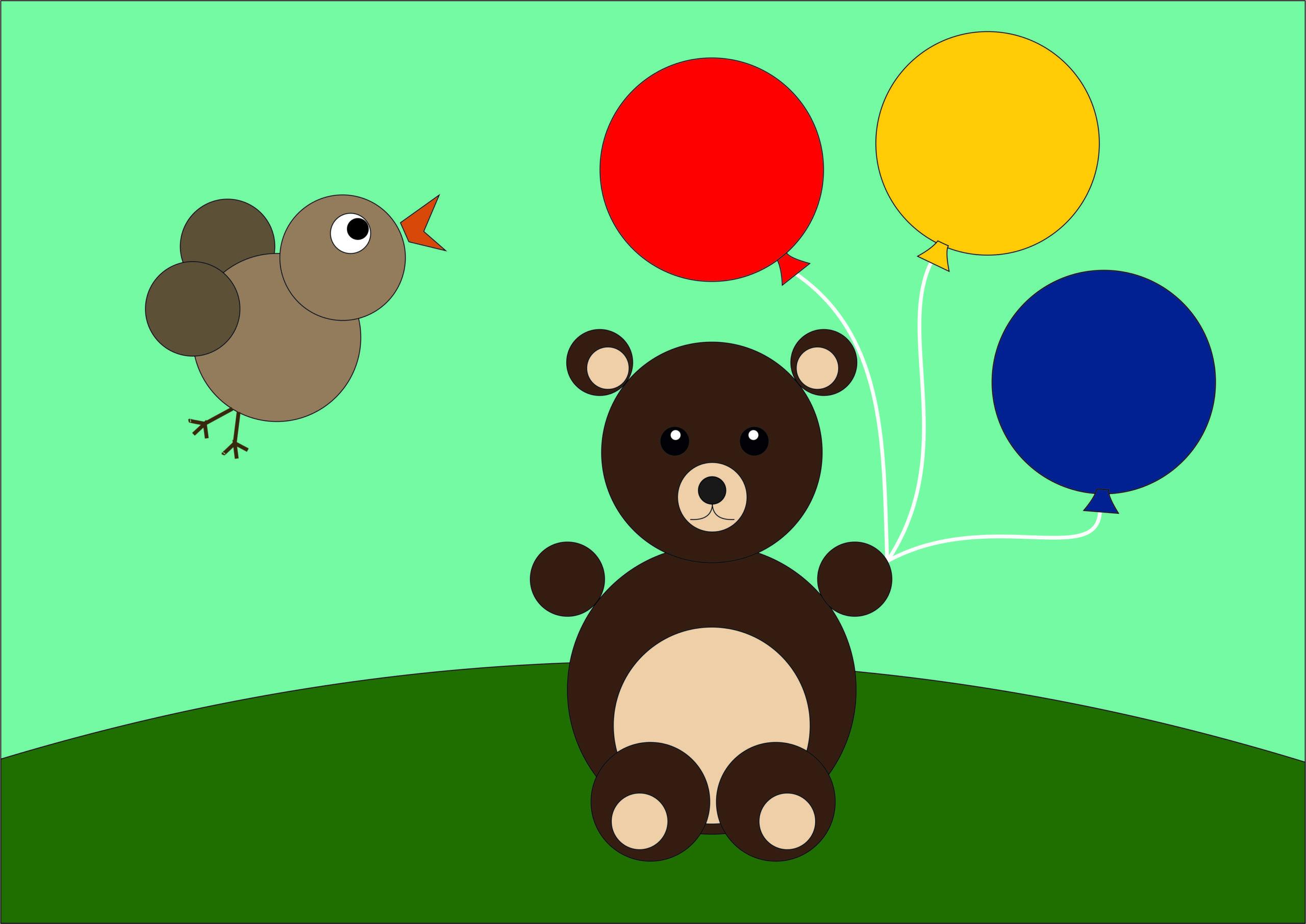 """Рисунок из кругов """"Мишка с шариками"""""""