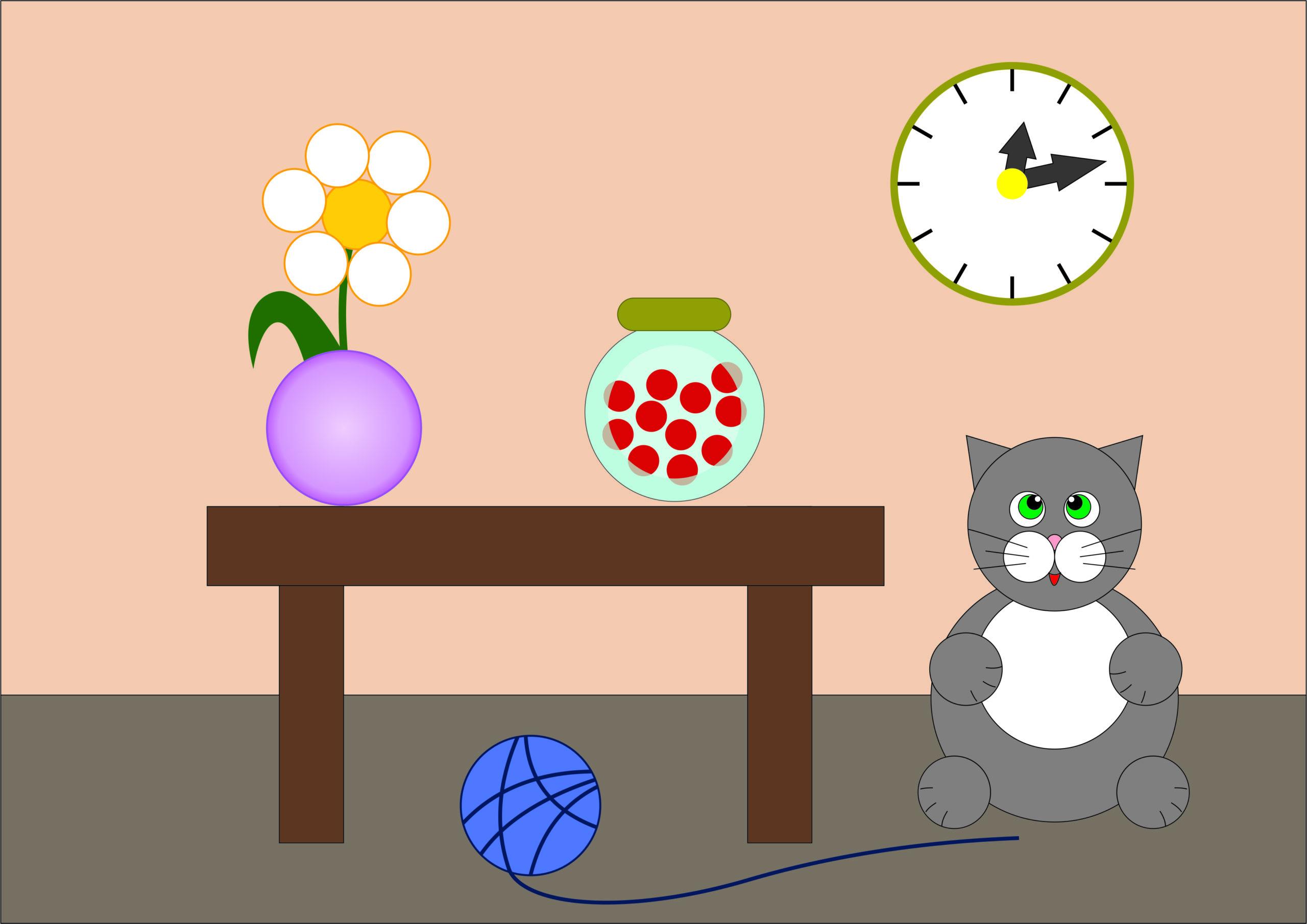 """Рисунок из кругов """"Комната с котом"""""""
