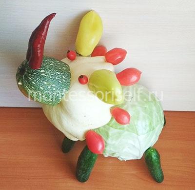 Динозавр из овощей