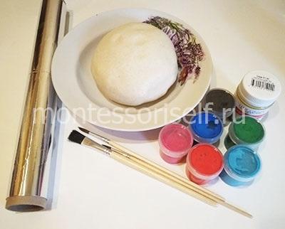 Тесто, фольга, краски
