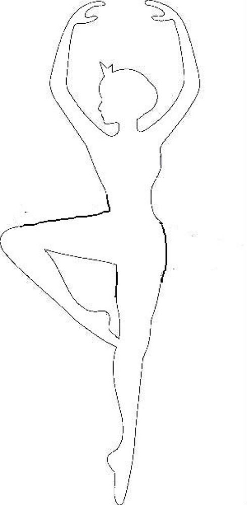 Шаблон для вырезания снежинки-балеринки