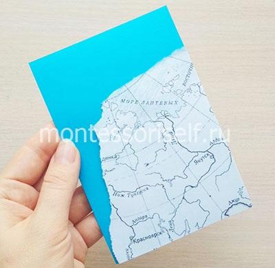Заготовка открытки с картой и морем