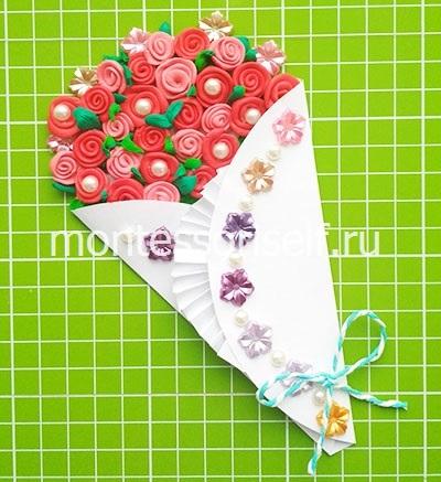 Букет роз из пластилина на День Рождения