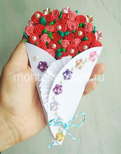 Букет роз из пластилина