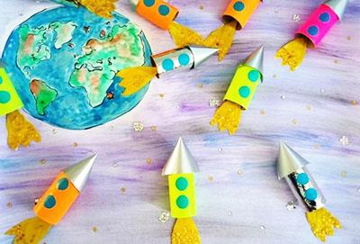 3D рисунок из ракет на День Космонавтики