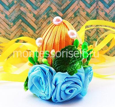 Сувенирное пасхальное яйцо из лент 4