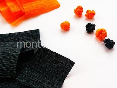 Оранжевые и черные шарики