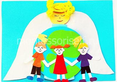 Приклеиваем деток и руки Ангела