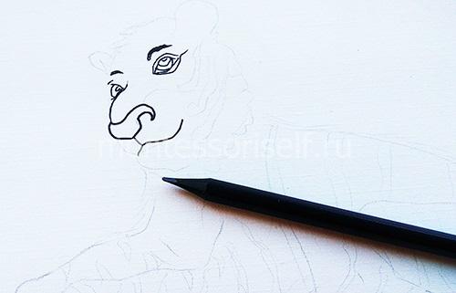Рисуем нос, глаза, рот