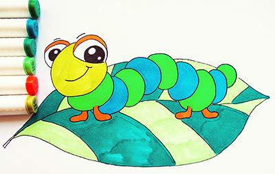 Раскрашиваем гусеницу