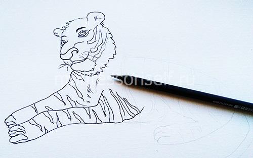 Рисуем передние лапы