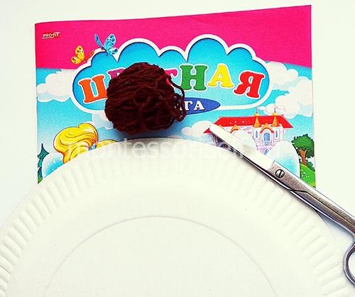 Цветная бумага, тарелка и нитки