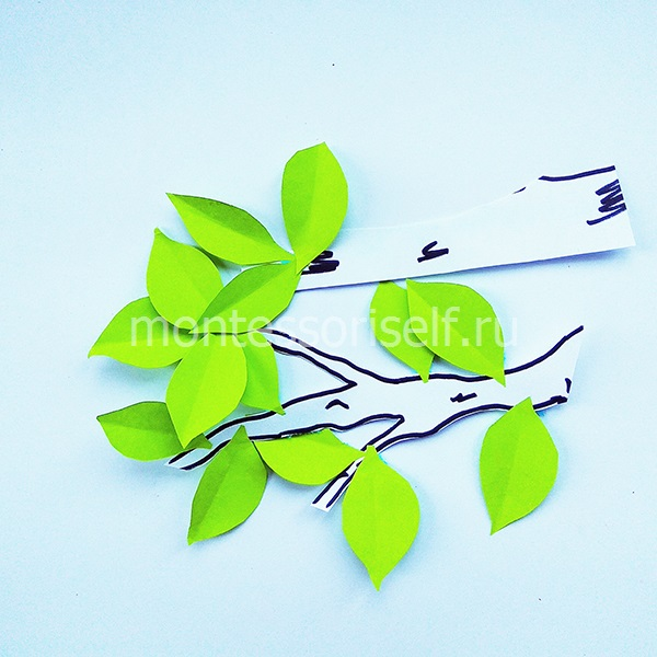 Веточки и листья из бумаги