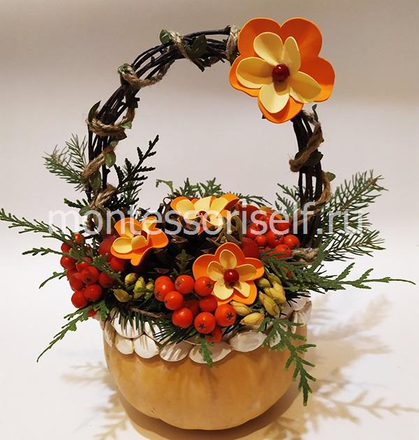 Осенняя корзинка из тыквы своими руками